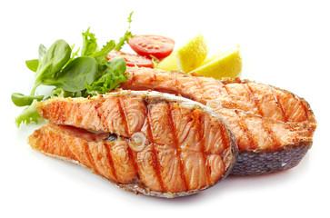 fresh grilled salmon steak slices