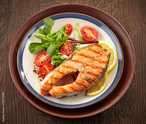 fresh grilled salmon steak slice