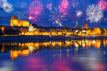 New Years firework display in Torun, Poland