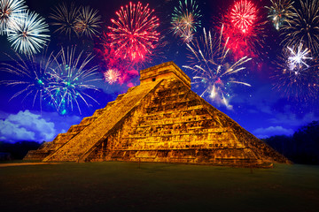 New Years firework display at pyramid in Chichen Itza, Mexico