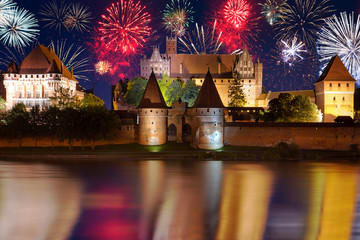 New Years firework display in Malbork, Poland