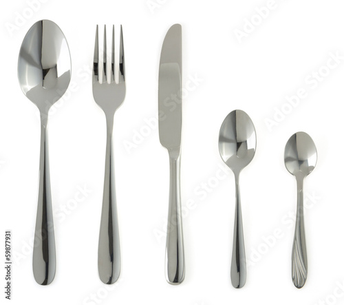 canvas print picture spoon, knife and fork  on white