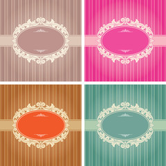 Vintage background frame template in 4 color variations