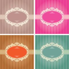Vintage background frame template in 4 color variations