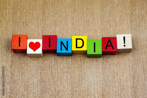 I Love India, sign series for countries, travel and place names
