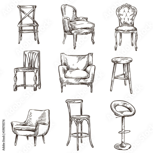 Set of hand drawn chairs interior detail - 59878576