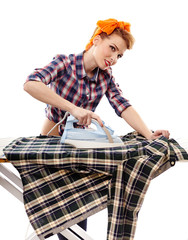 Sexy housewife ironing