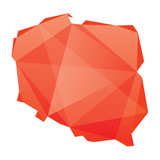 Fototapety red map of Poland in origami style