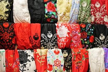 flamenco shawl market display rows
