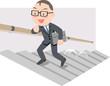 元気に階段を上がるビジネスマン