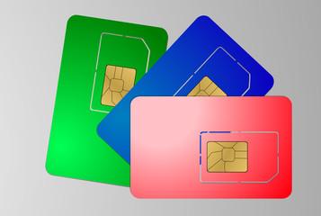 Three SIM cards on gray