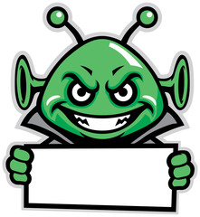 martian green mascot hold a sign
