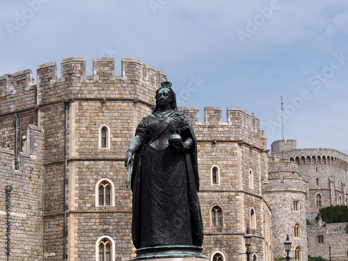 Windsor Castle with statue of Queen Victoria