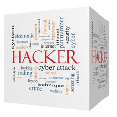 Hacker 3D cube Word Cloud Concept