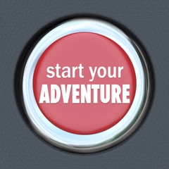 Start Your Adventure Red Button Begin Fun Experience