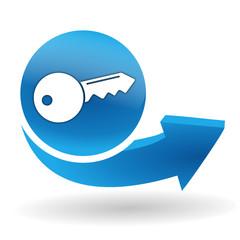 clef sur bouton web bleu