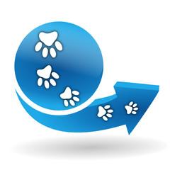 pattes de chien sur bouton web bleu