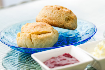 scone with strawberry jam