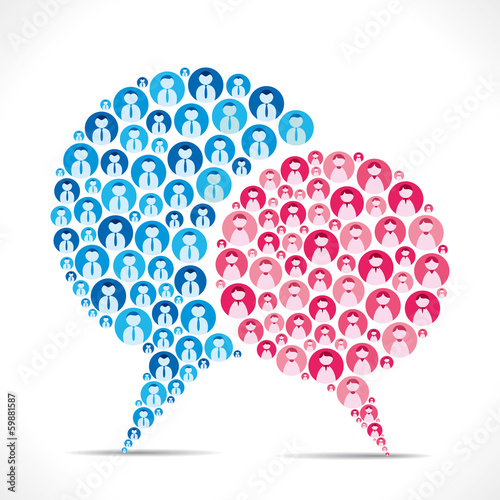 message bubble design with male female icon vector
