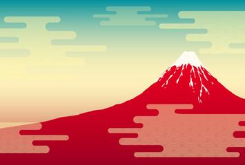 赤富士の風景