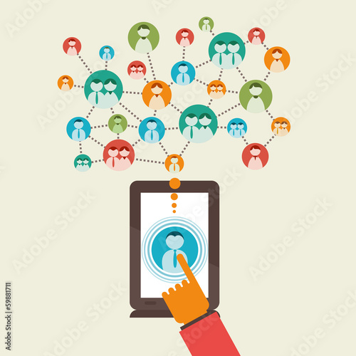 social media network using tablet vector