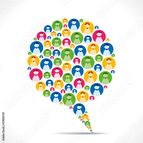 colorful people icon message bubble vector