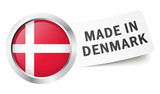 "Button mit Fahne "" MADE IN DENMARK """