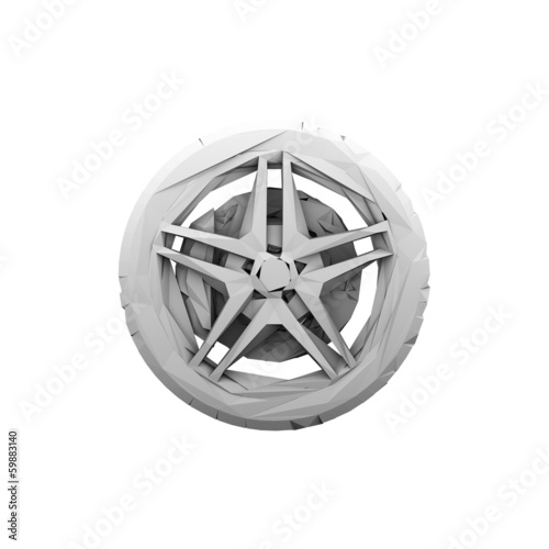 Abstract polygonal Car Wheel isolated. Illustration