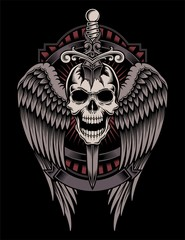 Winged Skull With Sword Stuck