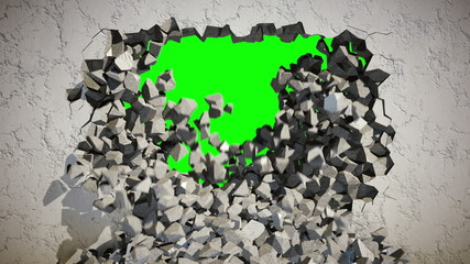 Demolition of a Concrete Wall with Green Background.