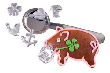 Bleigiessen Set mit Glücksschwein isoliert