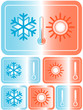 weather icons with sun, snowflake and thermometer