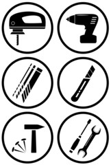 set icon construction equipment for repair or home work