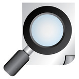 search, documentary verification, magnifying glass poster