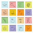 education icons set, note paper