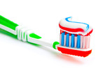 toothbrush with tricolor toothpaste