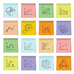 sketched graph icons set, note paper
