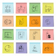 business management icons set, note paper