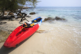 sea kayak canoe on sea sand beach with beautiful nature coast be