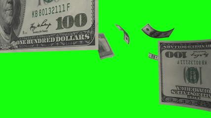 $100 Dollar Bills Flying. Green Screen.