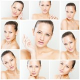 collage of a beautiful woman with perfect clean skin