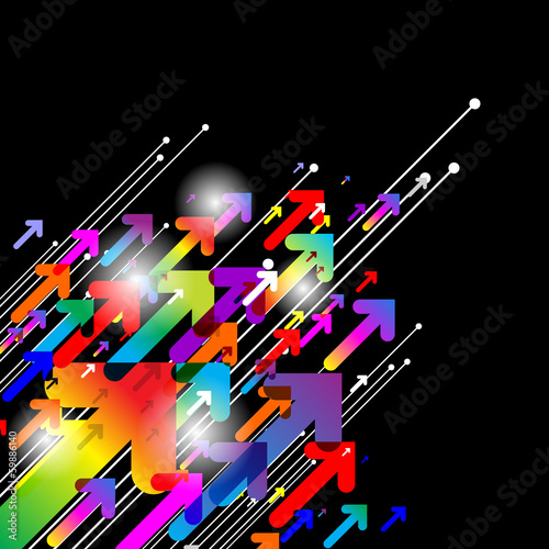 Abstract colored gradient background with arrows on black
