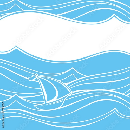 Ship in the ocean. Abstract background.