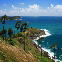 Phromthep cape viewpoint with blue sky Phuket,Thailand