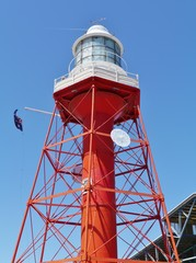 The red historic lighthouse of port Adelaide