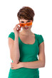 Pretyy young woman looking over her orange sunglasses