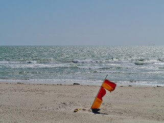 Warning flags on the beach of Adelaide