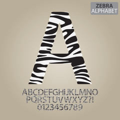 Zebra Stripe Alphabet and Numbers Vector