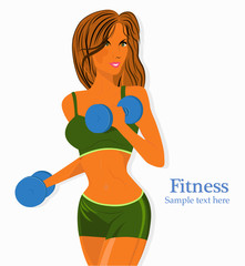 A vector illustration of a beautiful girl exercising in a gym