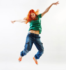 Modern style dancer jumping